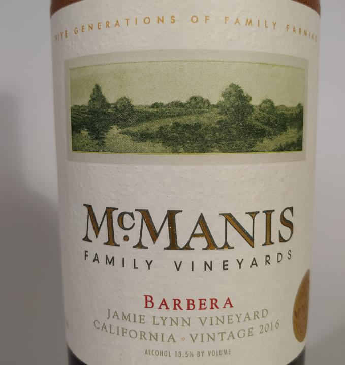 McManis Barbera Jamie Lynn Vineyard